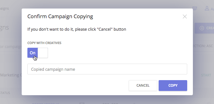 Copying of ad campaigns in the advertisers account